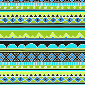 Green and Blue Aztec Tribal Pattern