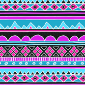Hot Pink and Bright Blue Aztec Tribal Pattern