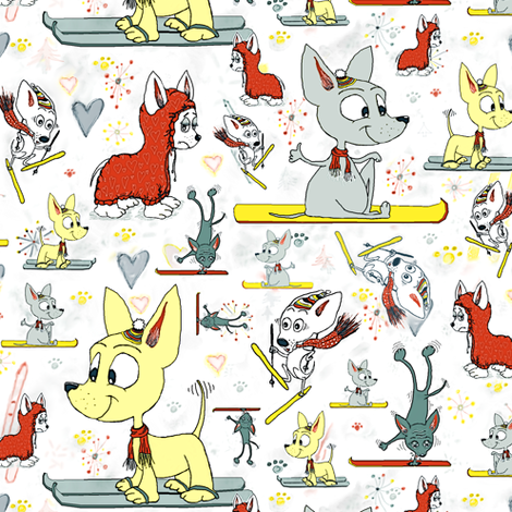 Chi's on Skis, chihuahuas go skiing fabric by amy_g on Spoonflower - custom fabric