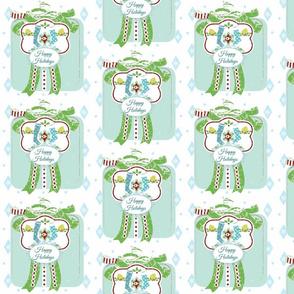 Holiday Blue Gift Stockings -Large Blue -Happy Holidays