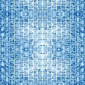 blue faux bricks