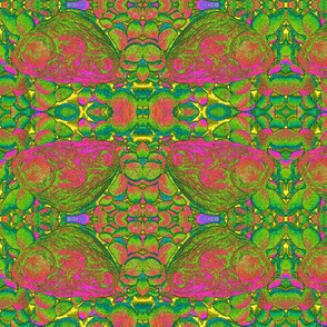 BUTTERFLIES ON THE ROCKS Green Pink
