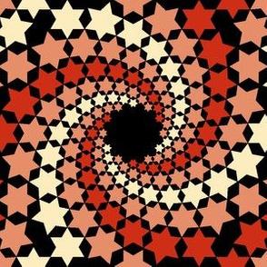 02638461 : mandala 12~ : red cream stars