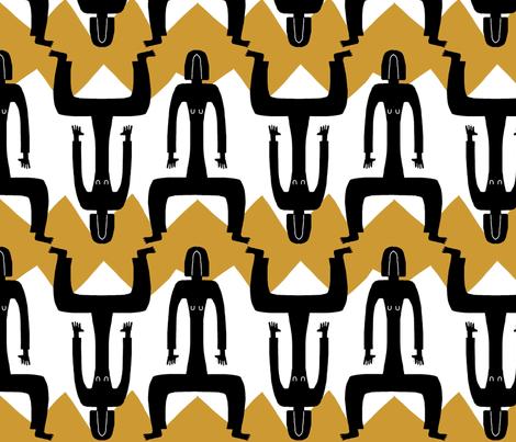 figure zig zag yellow fabric by kimmurton on Spoonflower - custom fabric