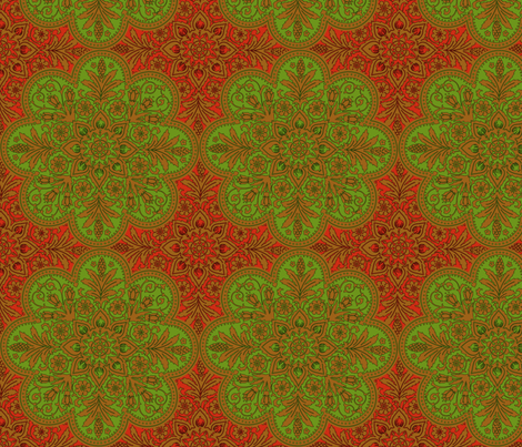 Bourgogne Tile ~ Christmas Apples In Gilt fabric by peacoquettedesigns on Spoonflower - custom fabric