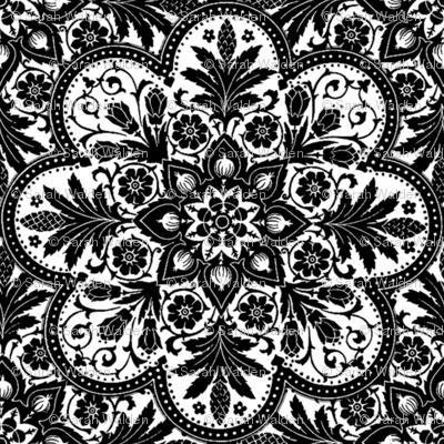 Bourgogne Tile ~ White and Black