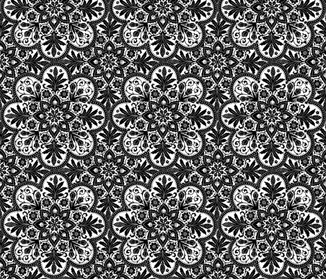 Bourgogne Tile ~ White and Black  fabric by peacoquettedesigns on Spoonflower - custom fabric