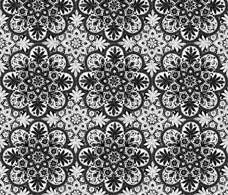 Bourgogne Tile ~ Black And White  fabric by peacoquettedesigns on Spoonflower - custom fabric