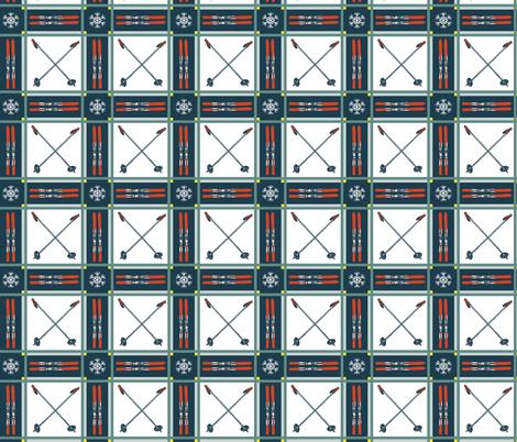 Retro Tartan Plaid Skis and Poles fabric by lisakling on Spoonflower - custom fabric