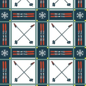 Retro Tartan Plaid Skis and Poles