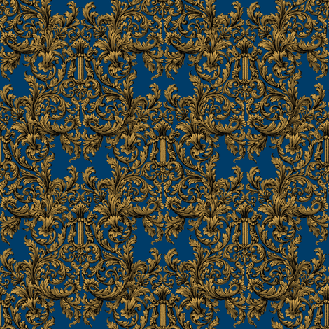 The Cissie Villa Damask ~ Gilt and Lonely Angel fabric by peacoquettedesigns on Spoonflower - custom fabric