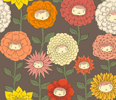 Talking Garden: Dark Thoughts fabric by beeskneesindustries on Spoonflower - custom fabric