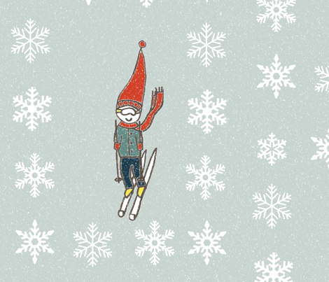 Retro Skier in the snow fabric by itseemedlogical on Spoonflower - custom fabric