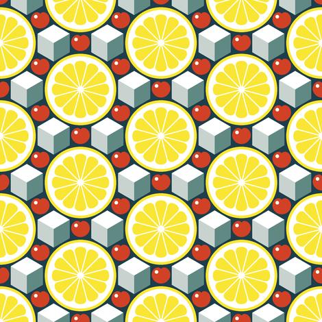 apres ski - lemon, cherry and ice fabric by sef on Spoonflower - custom fabric