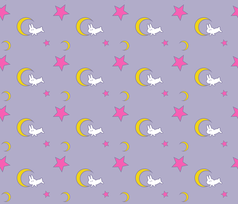 Usagi's Bed Sheets (Small Print Edition) - Sailor Moon - Rabbit Moon Star fabric by starlinehodge on Spoonflower - custom fabric