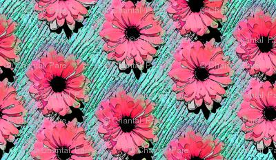 Pop Art Daisies pink/aqua