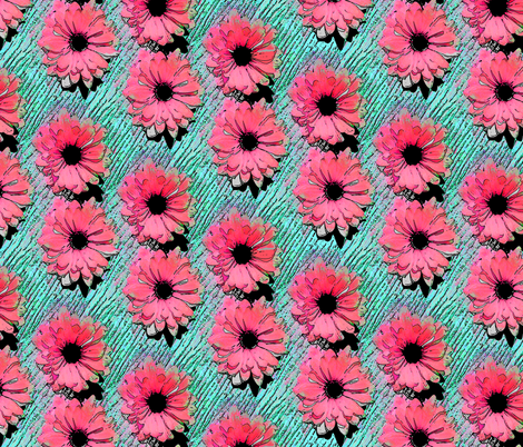 Pop Art Daisies pink/aqua fabric by chantal_pare on Spoonflower - custom fabric