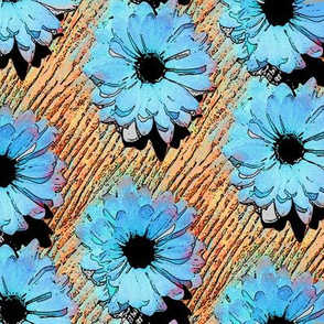 Pop Art Daisies - blue/orange