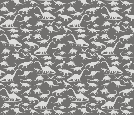 Dino walk grey fabric smuk spoonflower for Grey dinosaur fabric