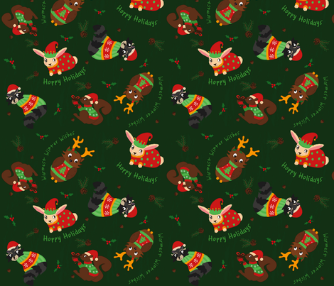Cozy Christmas Critters fabric by mfirebaugh on Spoonflower - custom fabric