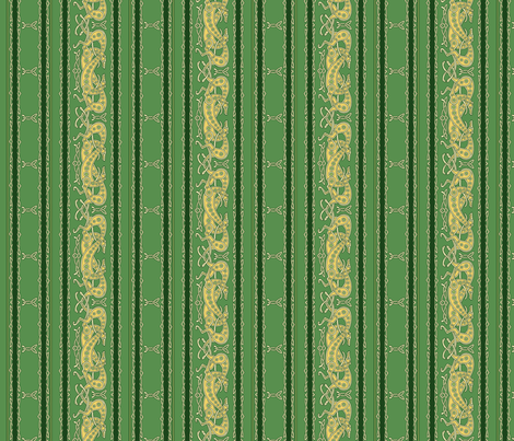 Celtic Greyhounds, green and yellow stripes fabric by artbyjanewalker on Spoonflower - custom fabric