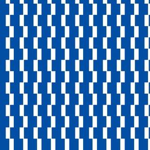 Broken Stripe  -blue and white