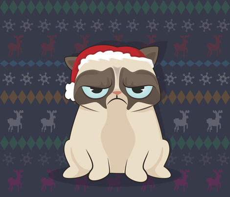 Grumpy Cat hates Christmas fabric by gila_be on Spoonflower - custom fabric