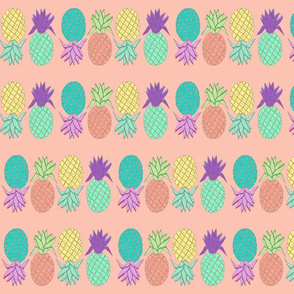pineapples coral background