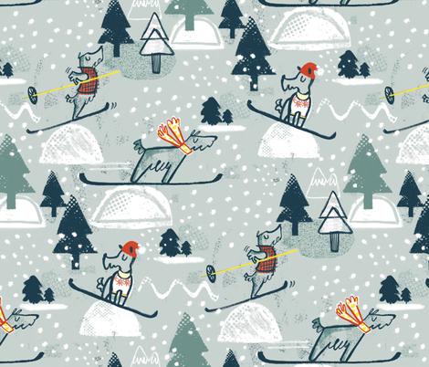 Ski Ski Skiing Scotties fabric by gsonge on Spoonflower - custom fabric