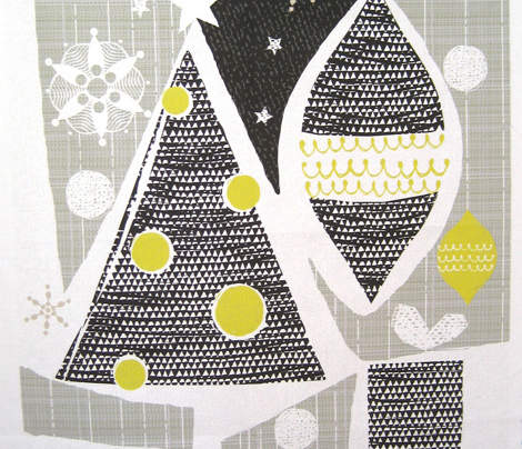 achromatic holidays-fat quarter - Christmas tree