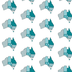Teal and Grey Australia with states