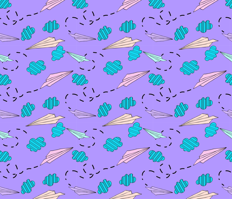 pastel paper airplane medium fabric by megancarroll on Spoonflower - custom fabric