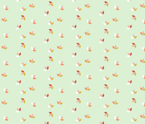 Little Ships Pastel Fall Leaves fabric by thistleandfox on Spoonflower - custom fabric