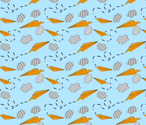 child paper airplane medium  fabric by megancarroll on Spoonflower - custom fabric