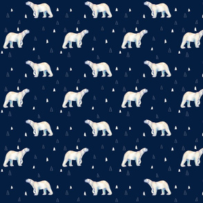 Polar Bear Dark Navy Pine Forest