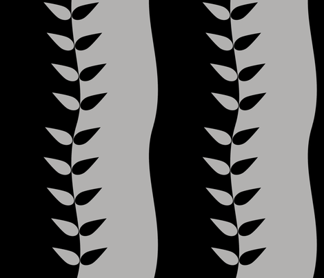 Black and Grey Wavy Leaves fabric by carbonatedcreations on Spoonflower - custom fabric