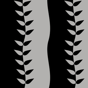 Black and Grey Wavy Leaves