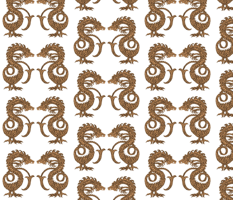 Dragons at Dawn - Orange fabric by lottibrown on Spoonflower - custom fabric