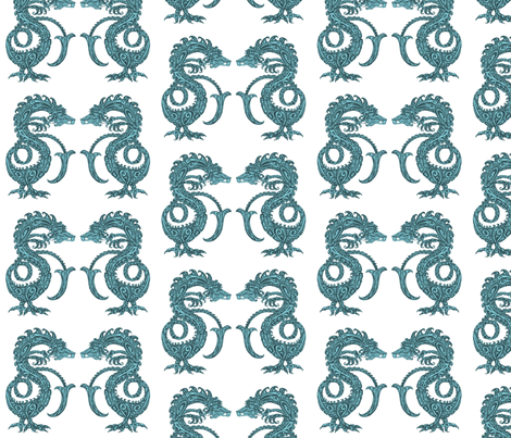 Dragons at Dawn - Deep Teal fabric by lottibrown on Spoonflower - custom fabric