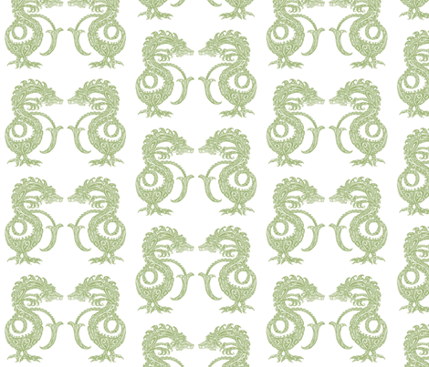 Dragons at Dawn - Soft Green fabric by lottibrown on Spoonflower - custom fabric