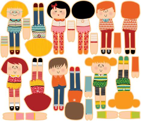 cut and sew dolls fabric by laurawrightstudio on Spoonflower - custom fabric