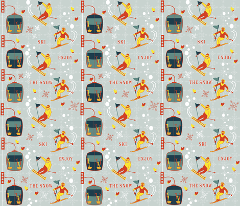 Retro Skiing fabric by les_motifs_de_sarah on Spoonflower - custom fabric