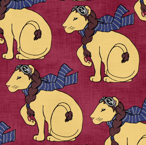 Aviator Lion on Red fabric by pond_ripple on Spoonflower - custom fabric