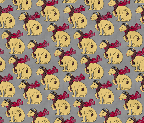 Aviator Lion on  Gray fabric by pond_ripple on Spoonflower - custom fabric