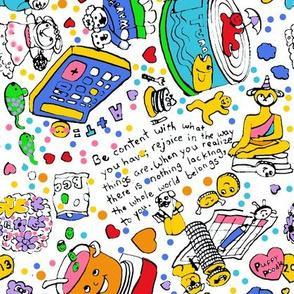 Crazy  Fun Colorful Doodle Random Dog Tuna Bunny Math Quote Handwriting