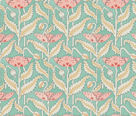 Antique Poppy in Mint and Coral fabric by willowlanetextiles on Spoonflower - custom fabric