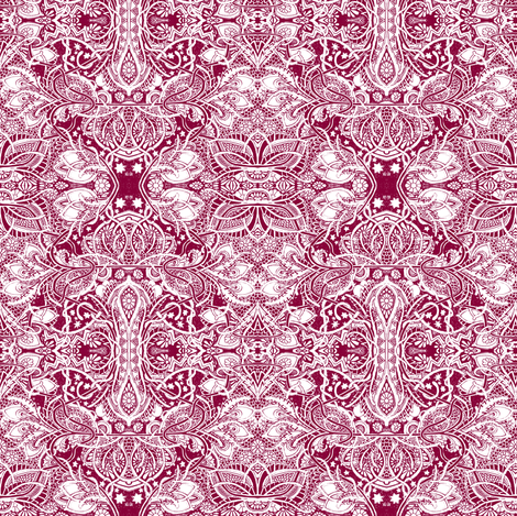 Victorian Excess (red/white lace) fabric by edsel2084 on Spoonflower - custom fabric