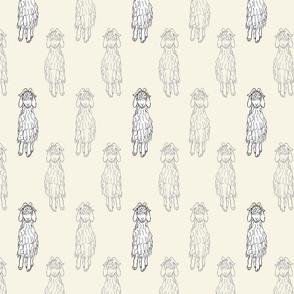 Angora Goat doodle - earthy tan