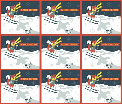 Sking_Fox_Tahoe_Retro_Poster fabric by tinastextiles on Spoonflower - custom fabric