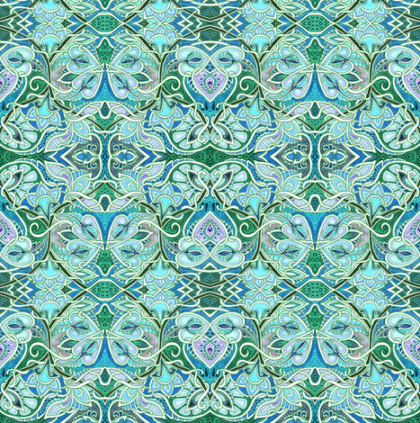 Valentine in Blue and Green fabric by edsel2084 on Spoonflower - custom fabric